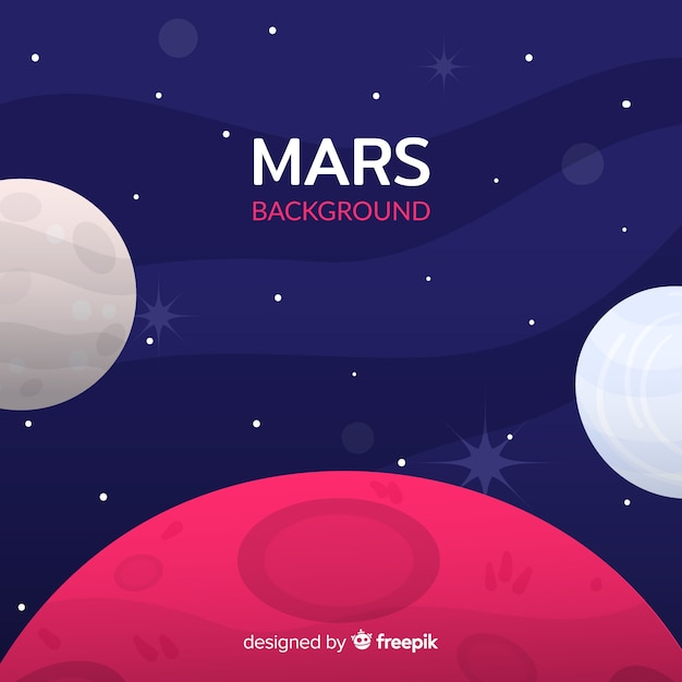 Colorful mars background with flat design Free Vector