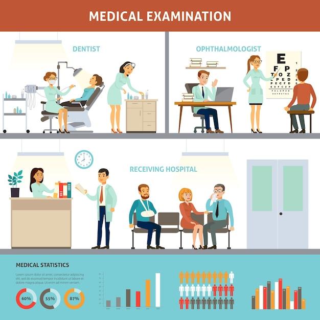 Красочный шаблон инфографики медицинского осмотра Бесплатные векторы