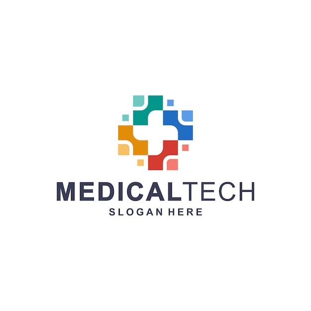 Colorful medical technology logo template Premium Vector