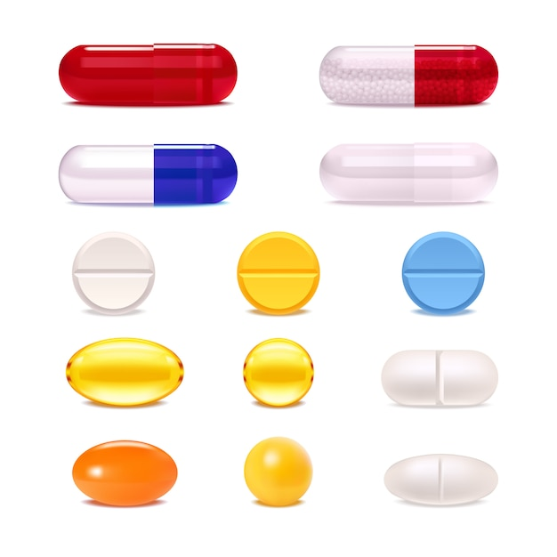 Colorful medicine pills and capsules set Free Vector