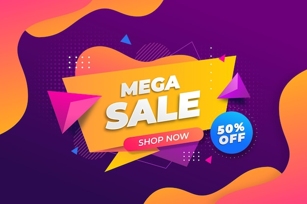 Colorful mega sale background with offer Free Vector