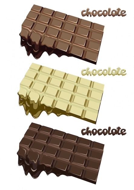 カラフルな溶かしたチョコレートブロックセット 無料ベクター
