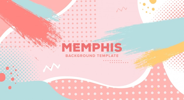 Colorful memphis background template Free Vector