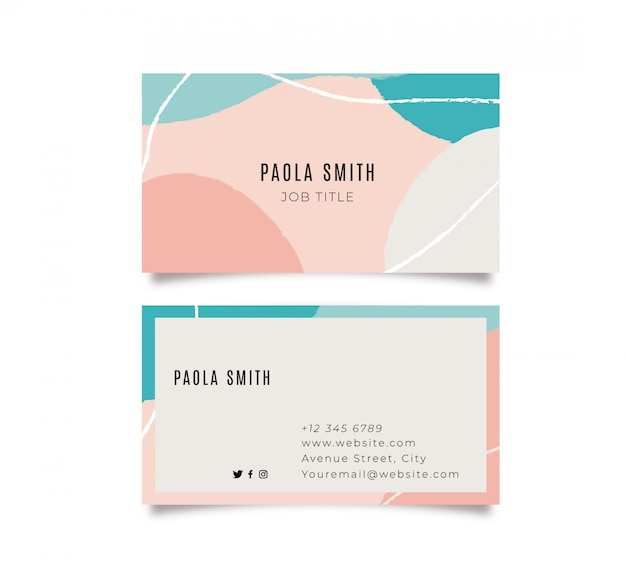 Colorful memphis business card Free Vector
