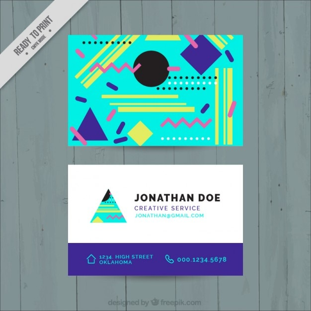Colorful memphis business card vector free download for Business cards memphis
