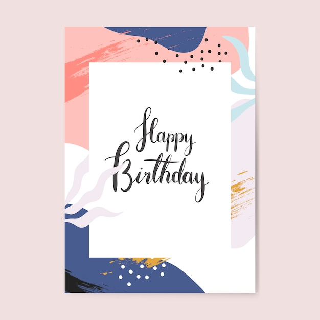 Colorful Memphis Design Happy Birthday Card Vector Free
