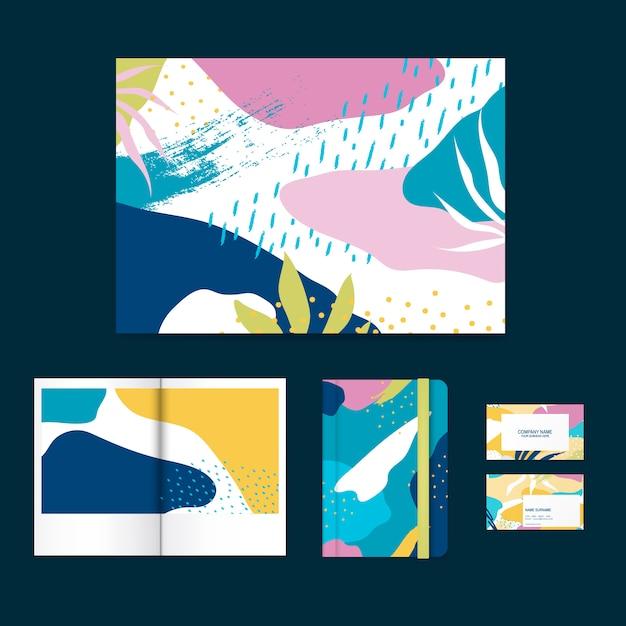 Colorful memphis design layout vector set Free Vector