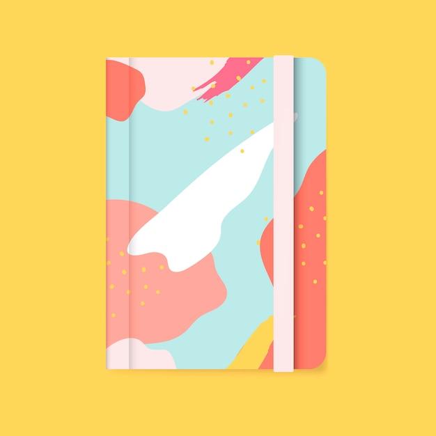 カラフルなメンフィスのデザインノートブックのカバーベクトル 無料ベクター