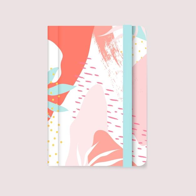 カラフルなメンフィスデザインノートブックカバーベクトル 無料ベクター