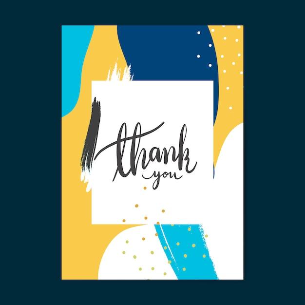 Colorful memphis design thank you card vector Free Vector