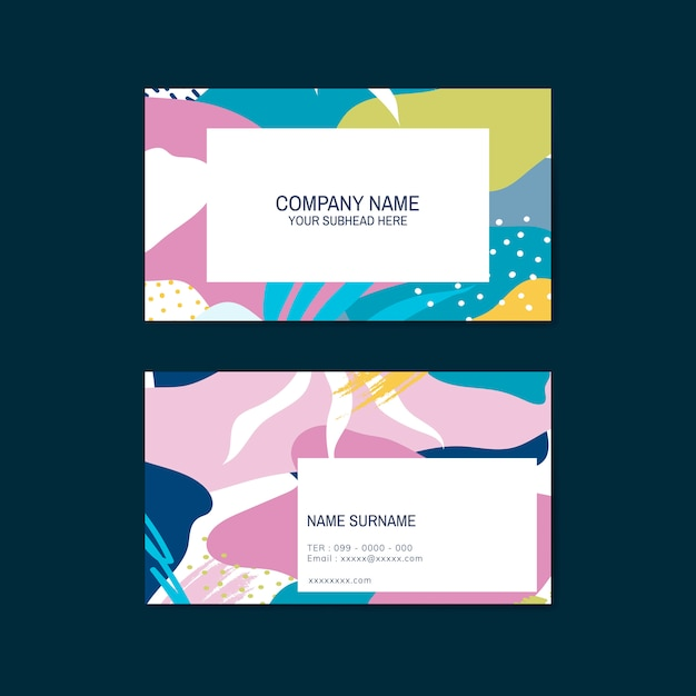 Colorful memphis pattern business card vector Free Vector