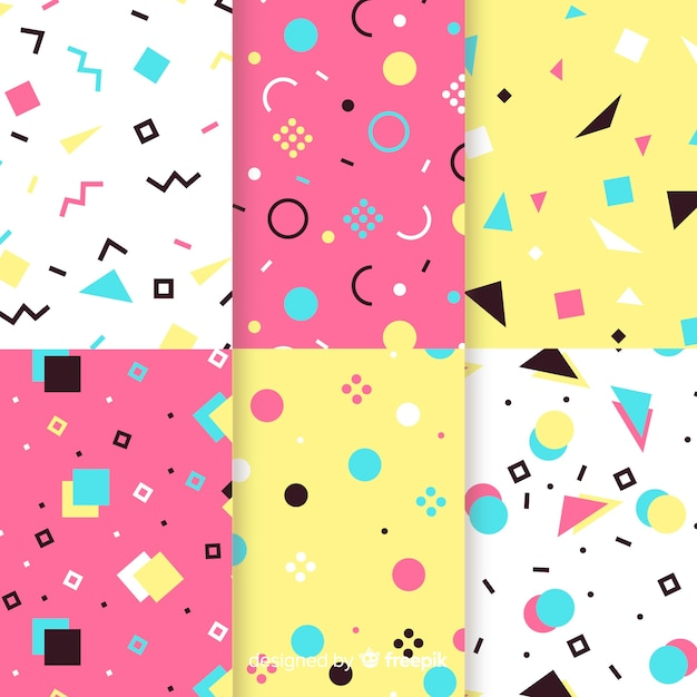 Colorful memphis pattern collection concept Free Vector