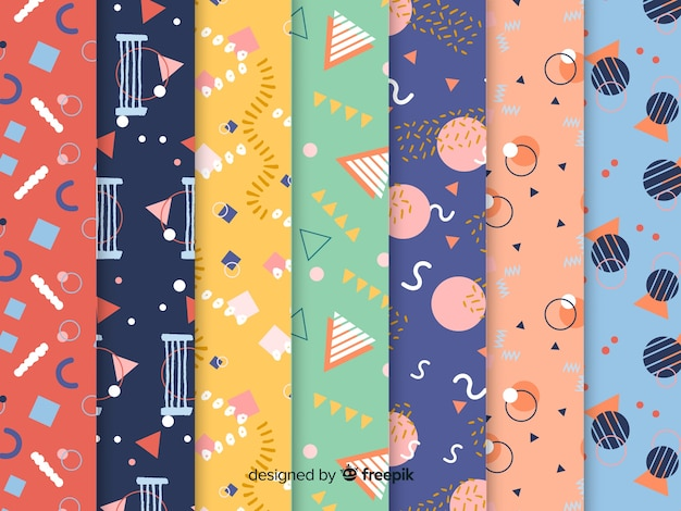 Colorful memphis pattern collection Free Vector