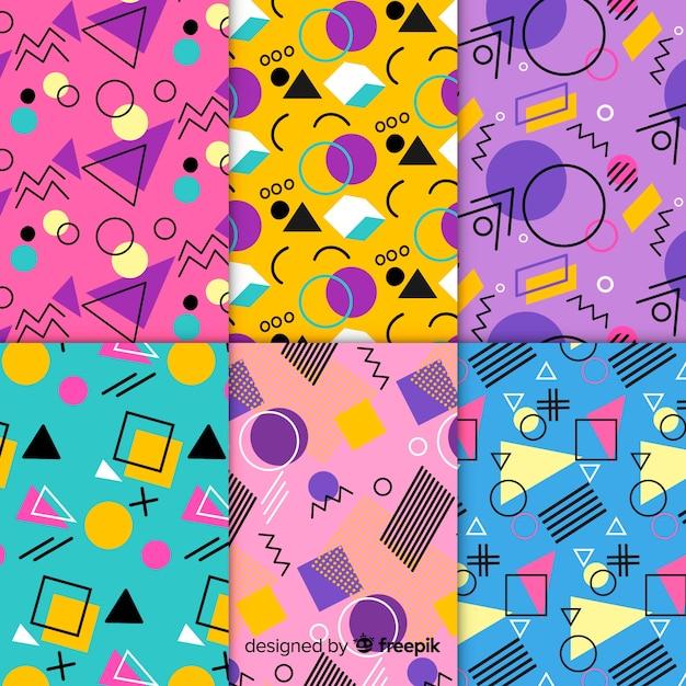 Colorful memphis pattern set Free Vector