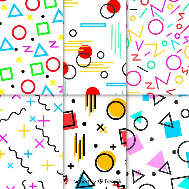 Colorful memphis pattern set Free Vector