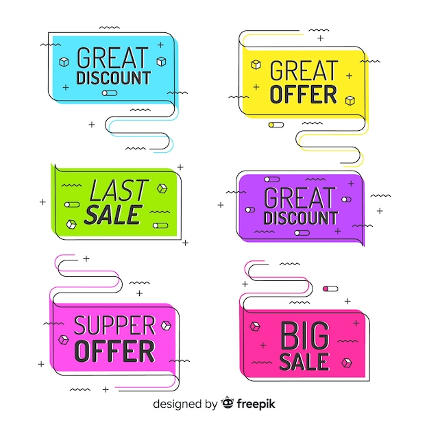 Colorful memphis sale banners Free Vector
