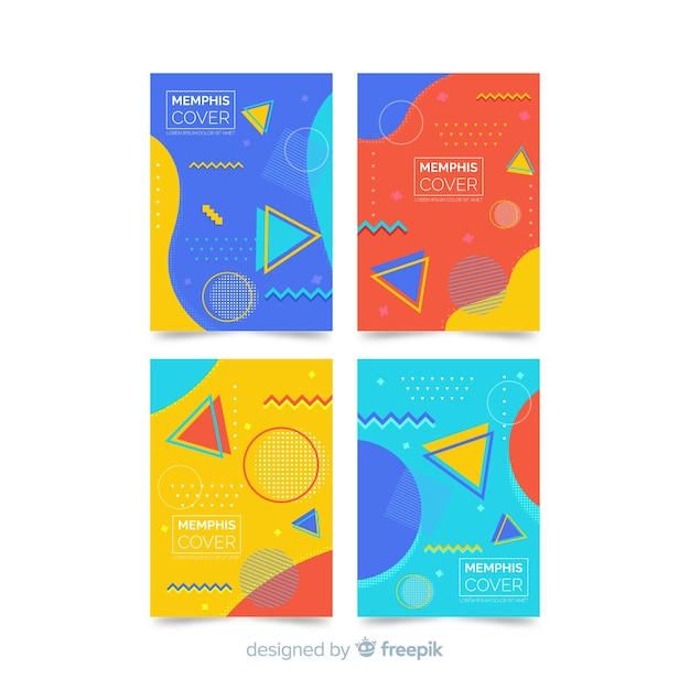 Colorful memphis style brochure set Free Vector