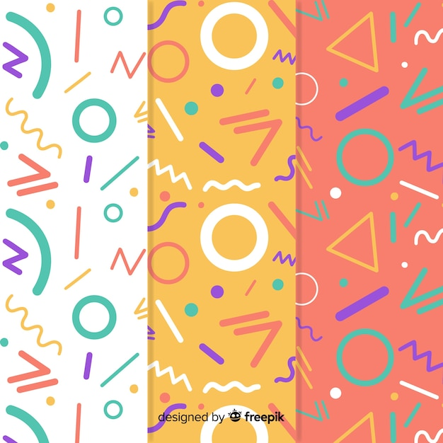 Colorful memphis style pattern collection Premium Vector