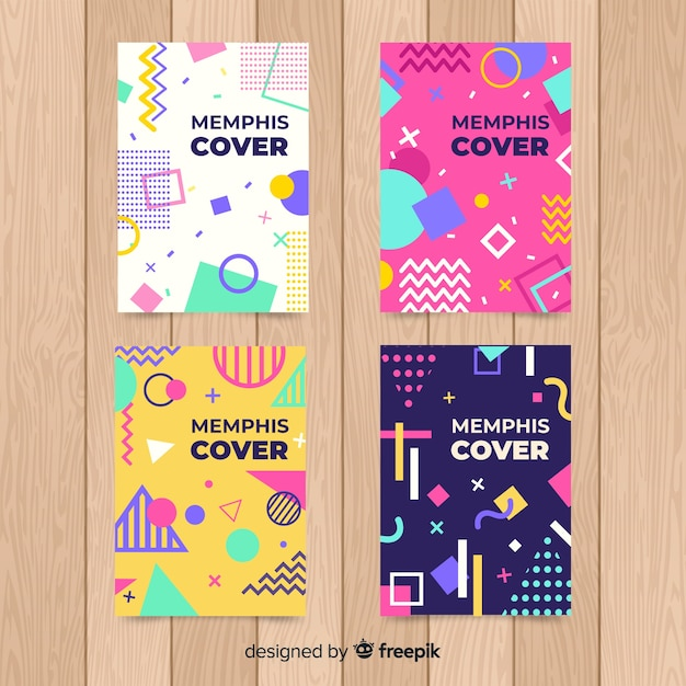 Colorful memphis style poster set Free Vector