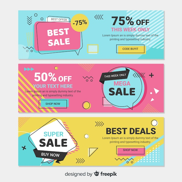 Colorful memphis style sale banner set Free Vector