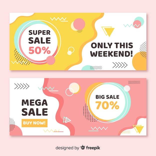 Colorful memphis style sale banner set Free Vector