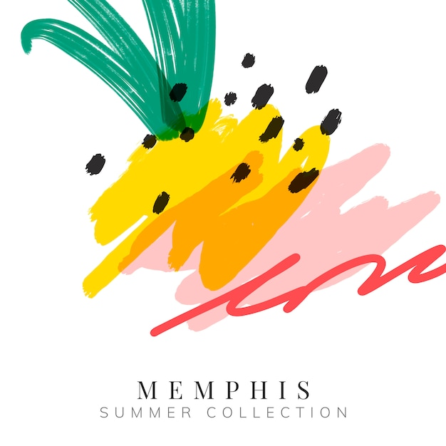 Colorful memphis summer background vector Free Vector