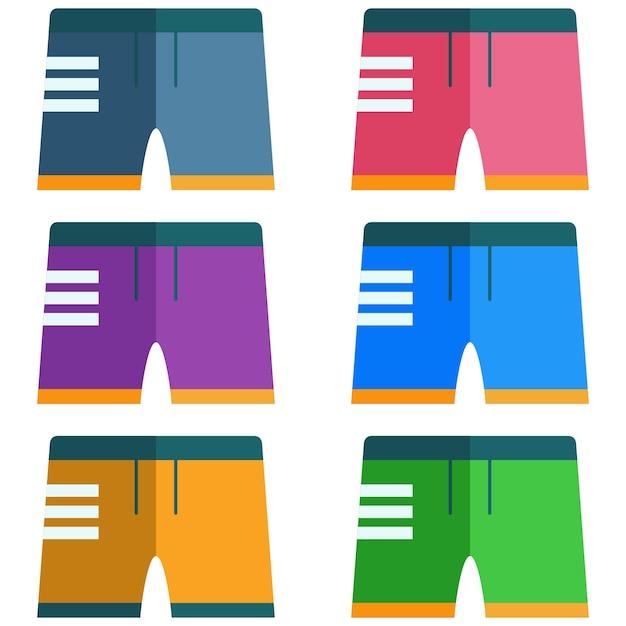 Colorful men's swimming trunks element icon game asset Premium Vector