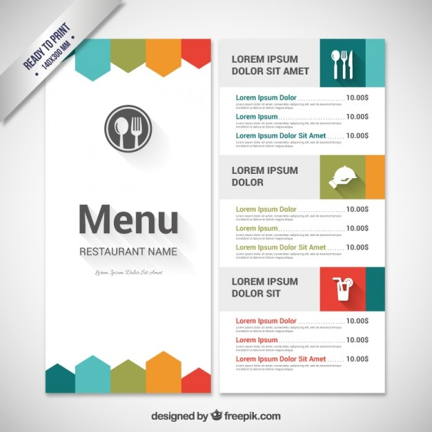 Colorful menu template vector free download for Cafe menu design template free download