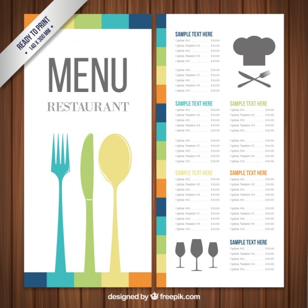 Colorful menu template Vector – Free Food Menu Template
