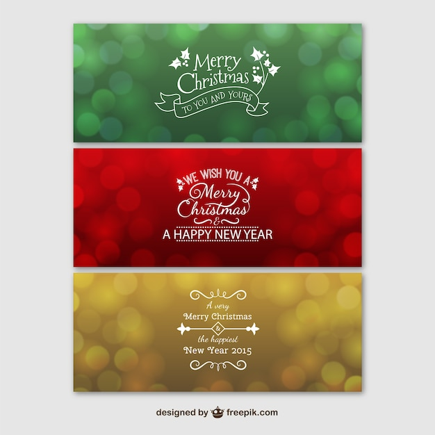 Colorful merry christmas banners Free Vector