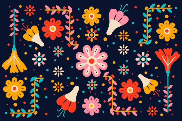 Colorful mexican background concept Free Vector