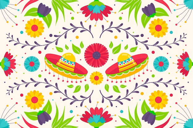 Красочный мексиканский фон плоский дизайн Бесплатные векторы