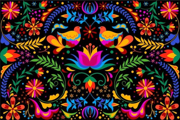 꽃과 새와 화려한 멕시코 배경 프리미엄 벡터