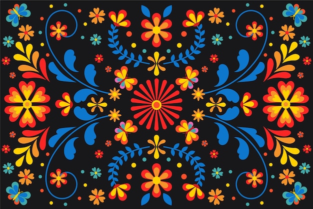 Colorful mexican background with flowers Free Vector