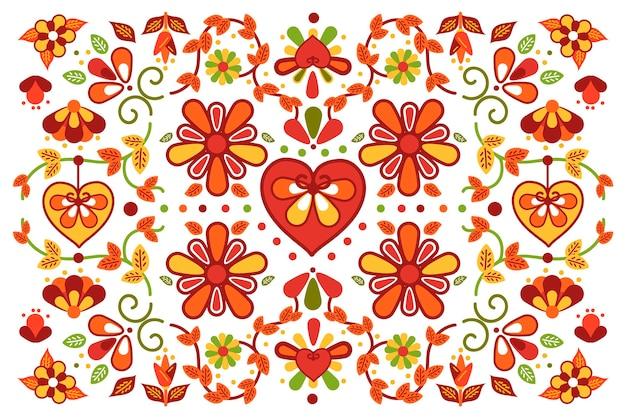 花とカラフルなメキシコの背景 無料ベクター
