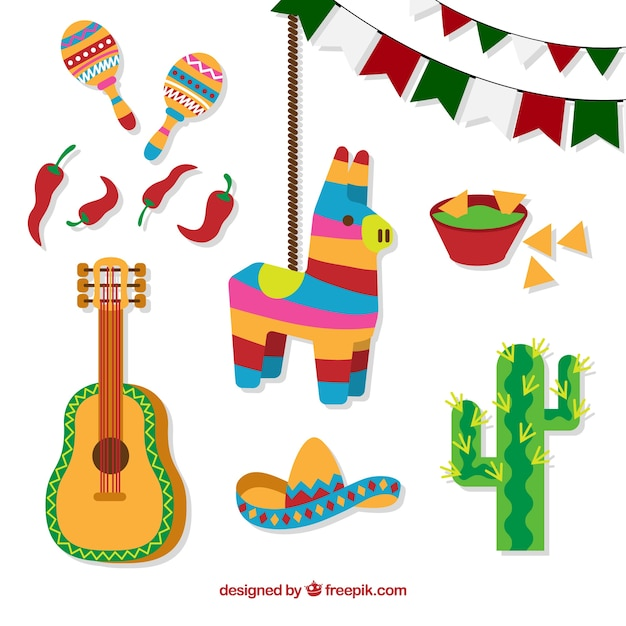 Colorful mexican elements Free Vector