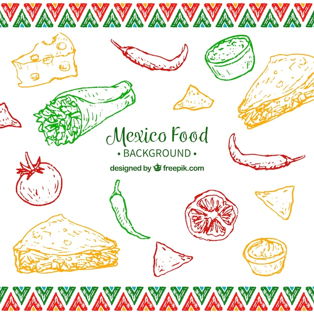 Colorful mexican food background Free Vector