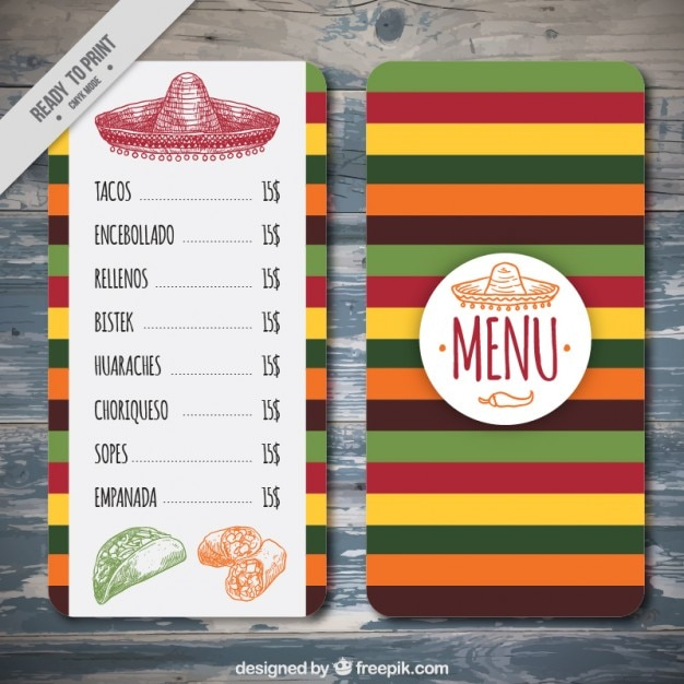 Colorful mexican menu template vector free download for Free download menu templates