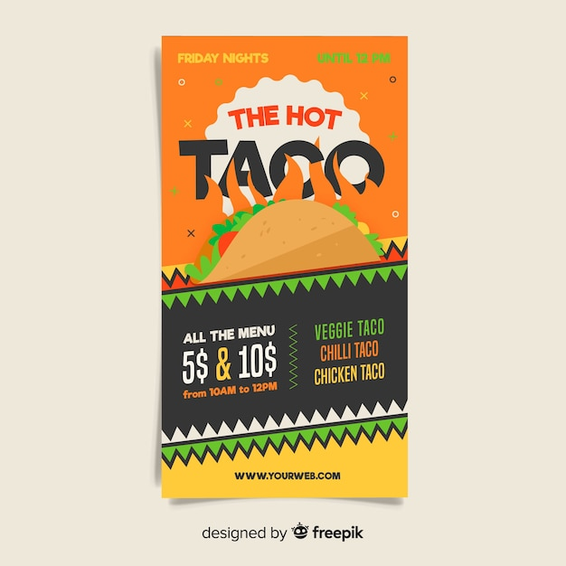 Colorful mexican restaurant flyer template Free Vector