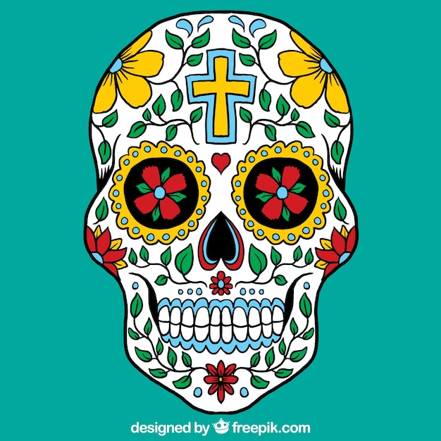 colorful mexican skull vector free download
