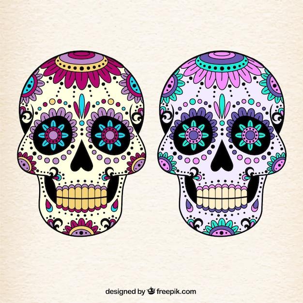 colorful mexican skulls vector premium download