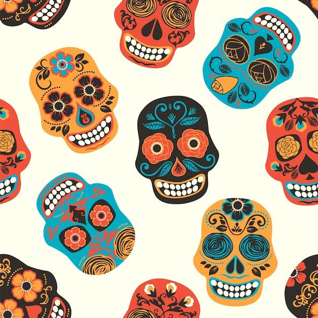 colorful mexican sugar skulls seamless pattern vector premium