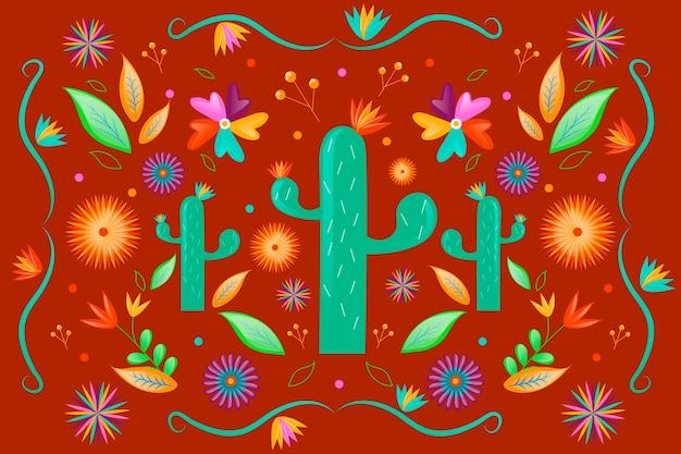 배경에 대 한 다채로운 멕시코 테마 무료 벡터