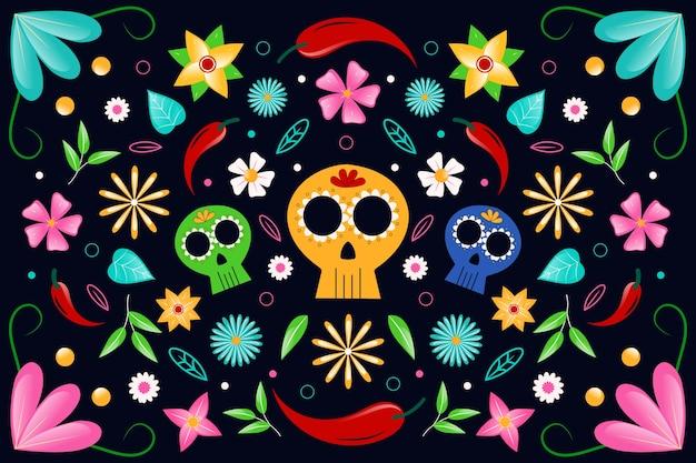 벽지를위한 다채로운 멕시코 테마 무료 벡터