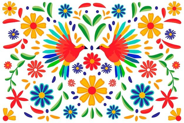 화려한 멕시코 벽지 디자인 무료 벡터