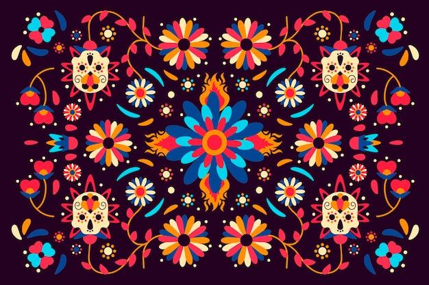꽃과 화려한 멕시코 벽지 무료 벡터