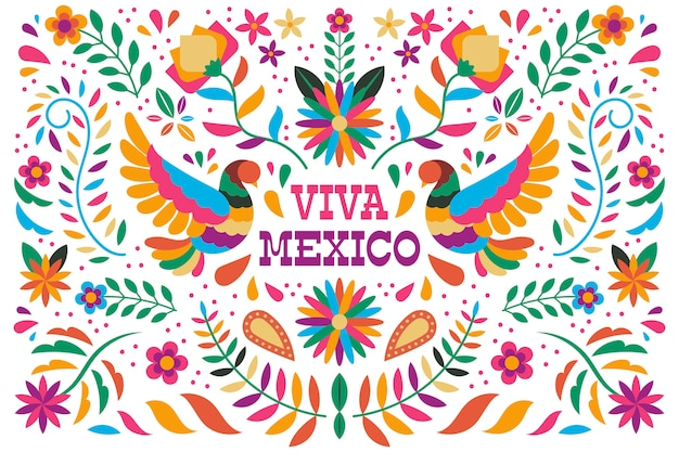 Colorful mexican wallpaper Free Vector
