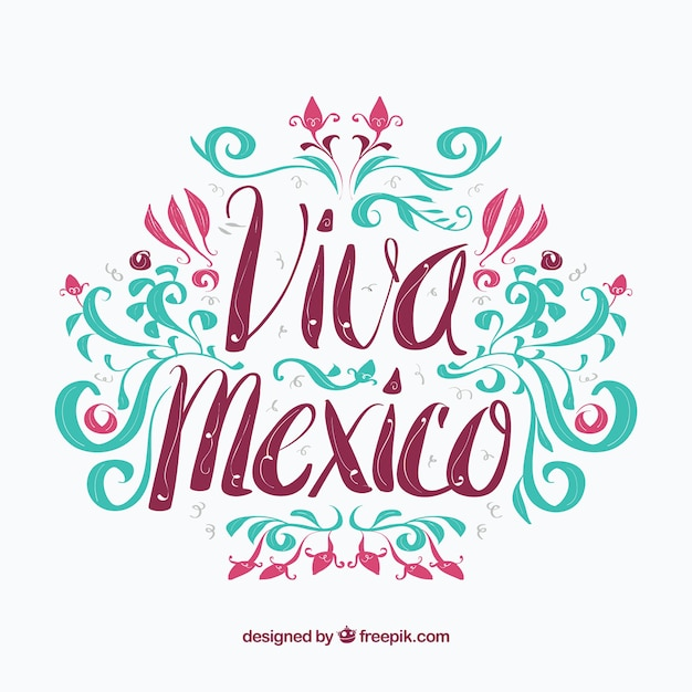 Colorful mexico background Free Vector