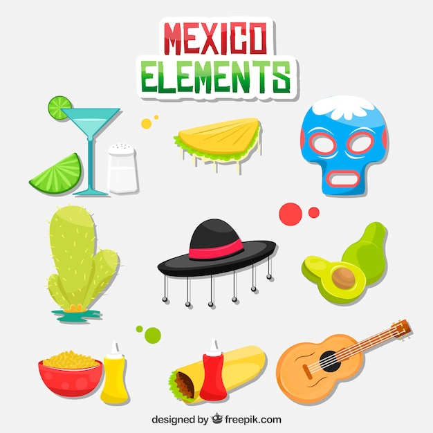 Colorful mexico elements collection Free Vector