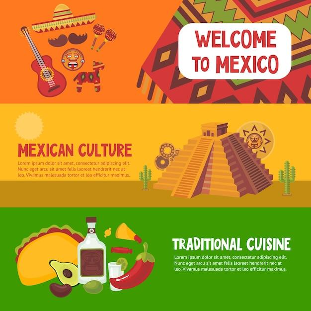 Красочные мексиканские горизонтальные баннеры с традиционной мексиканской кухней Бесплатные векторы